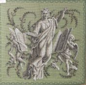 Perlstickarbeit bzw. Stickarbeit auf Stoff, wohl 1. Hälfte 19. Jahrhundert, monochrome mythologische