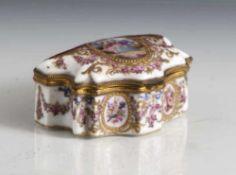 Dose Limoges, 19. Jahrhundert, Porzellan, Messingmontierung vergoldet, farbige Emailmalerei, im