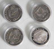 4 Silbermünzen, 10 Euro, 2007, BRD, PP, Wilhelm Busch 1832-1908, Münzen in Kapsel.