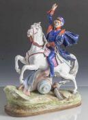 Figurine, General hoch zu Ross, blaue unleserl. Bodenmarke, Porzellan, polychrom bemalt, auf