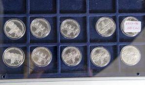 10 Silbermünzen, 10 Euro, 2007, BRD, PP, 50 Jahre Bundesland Saarland, Münzen in Kapsel.