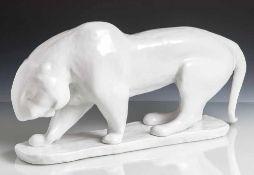 """Harth, Philipp (1885-1968), Tierplastik, """"Schreitender Tiger"""", Goebel, auf Unterboden grüne"""