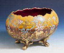 Sarreguemines Keramikschale in Eiform, Jahrhundertwende, Formnummer auf Unterboden 2247-D1797,