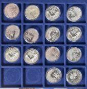 14 Silbermünzen, 10 Euro, 2004, BRD, PP, Nationalpark Wattenmeer, Münzen in Kapsel und blauer