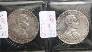 2 Münzen, je 5 Mark, Wilhelm II. von Preußen, 1914 A.