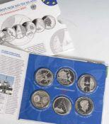 6 Silber-Gedenkmünzen, 10 Euro, 2009, Bundesrepublik Deutschland, PP, darunter IAAF Leichtathletik