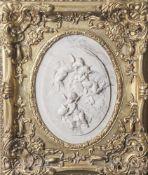 Bertaux, Léon (1825-1909; geb. Hélène Hébert), Puttendarstellungen, ovale Marmorreliefplatte, re.