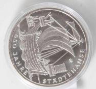 Silbermünze, 10 Euro, Bundesrepublik Deutschland, 2006, PP, 650 Jahre Städtehanse, Münze in Kapsel.