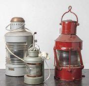 """3 Schiffspositionslampen, Signallampen, verschiedene Ausführungen, 1x Herst, bez. """"Ahlemann &"""