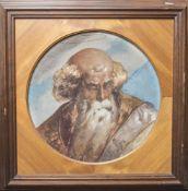 Altes Wandfresko, datiert 1874, wohl Darstellung des Apostel Petrus, unleserl. signiert, DM. ca.