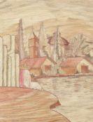 Mosaikbild, Ansicht in Mexiko, Häuser u. Kirche an einem See gelegen, li. Kakteen u. Mann mit