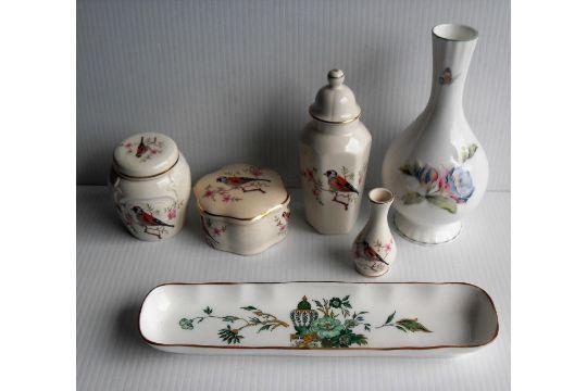 Four Royal Worcester Palissy Potjars An Aynsley Vase In Celeste