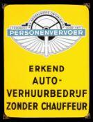 PERSONENVERVOER 1+ Emailschild, abgekantet, schabloniert, Niederlande 50er Jahre, 29 x 38 cm