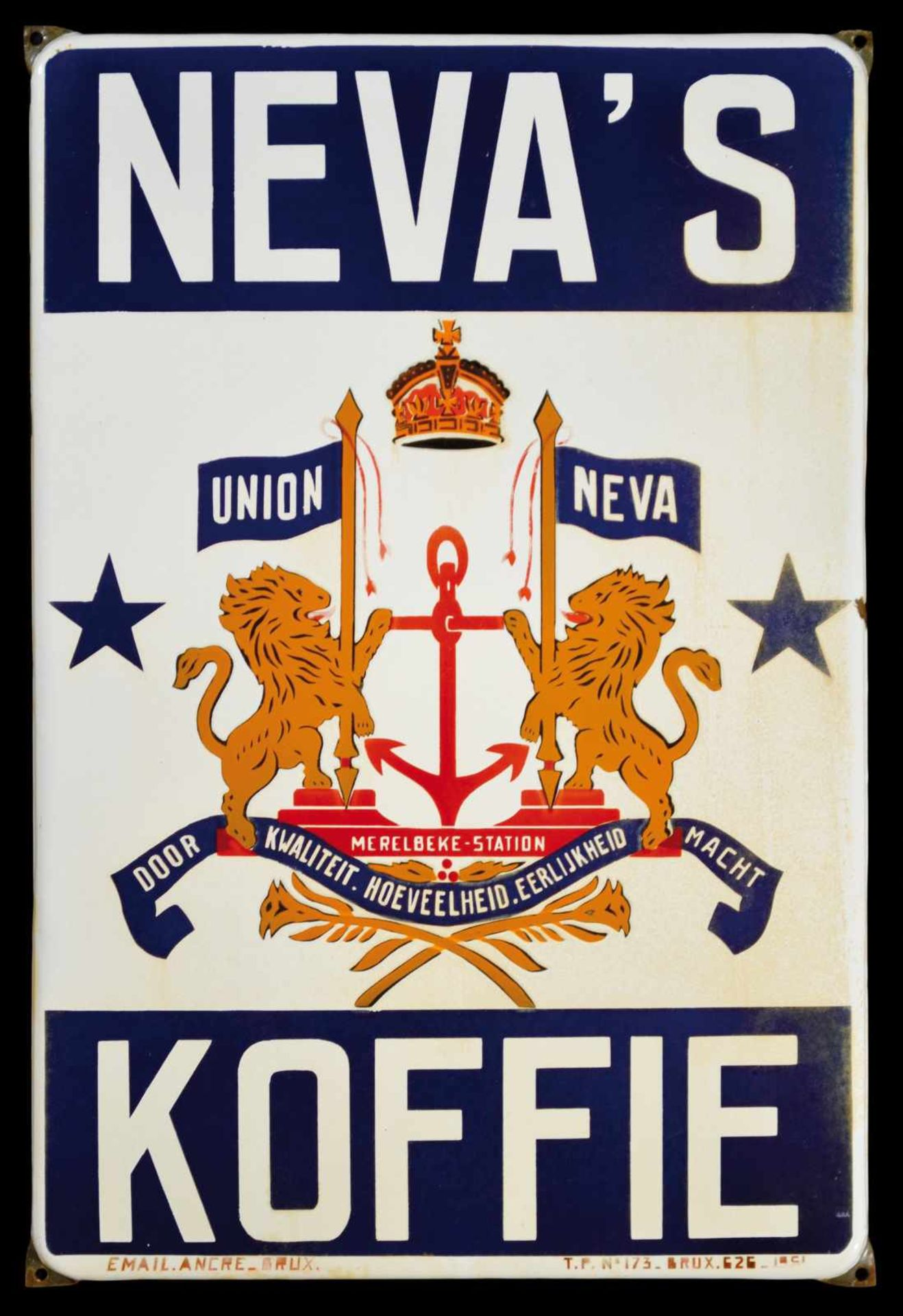 NEVA'S KOFFIE (2-3) Emailschild, abgekantet, fett schabloniert, Belgien 1951, 43 x 65 cm, Email