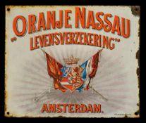 ORANJE NASSAU (2) Emailschild, flach, schabloniert und lithographiert, Amsterdam/Niederland um 1915,
