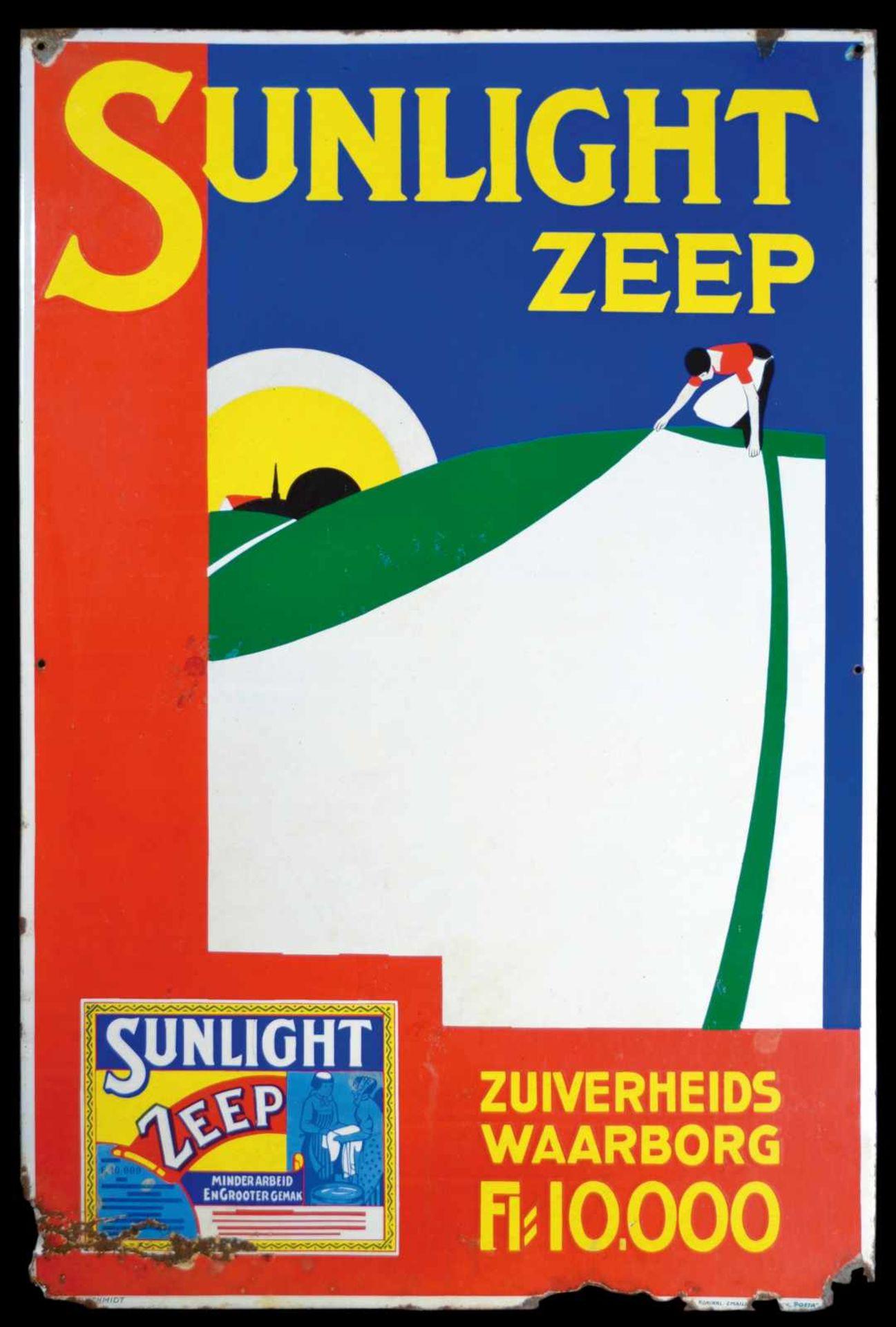 SUNLIGHT ZEEP (3-4) Emailschild, abgekantet, schabloniert und lithographiert, Niederlande um 1930,