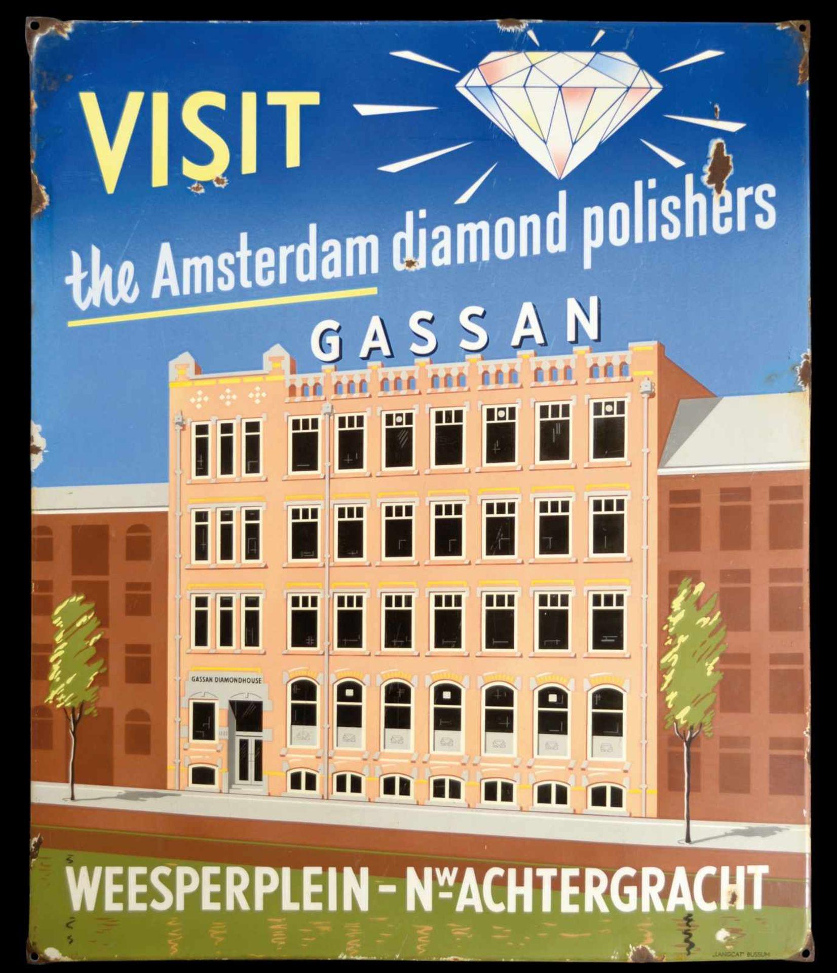 GASSAN DIAMOND POLISHERS (2) Emailschild, abgekantet, schabloniert und lithographiert, Amsterdam/