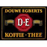 DOUWE EGBERTS KOFFIE-THEE (2) Emailschild, gewölbt, schabloniert, Niederlande um 1930, 70 x 50 cm,