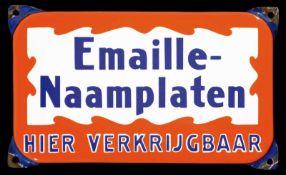 EMAILLLE-NAAMPLATEN (1) Emailschild, abgekantet, schabloniert, Niederlande um 1950, 24 x 17 cm