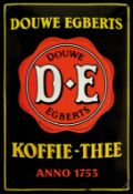 DOUWE EGBERTS KOFFIE-THEE (1-2) Emailschild, gewölbt, schabloniert, Niederlande 30er Jahre, 50 x