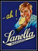 SANELLA (1-2) Blechschild, umgebördelter Rand, lithographiert, Deutschland um 1950, 37 x 50 cm