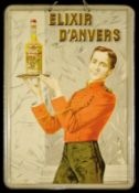 ELIXIR D'ANVERS (1) Blechschild, Motiv, Schrift und Umrahmung reliefartig geprägt, zudem