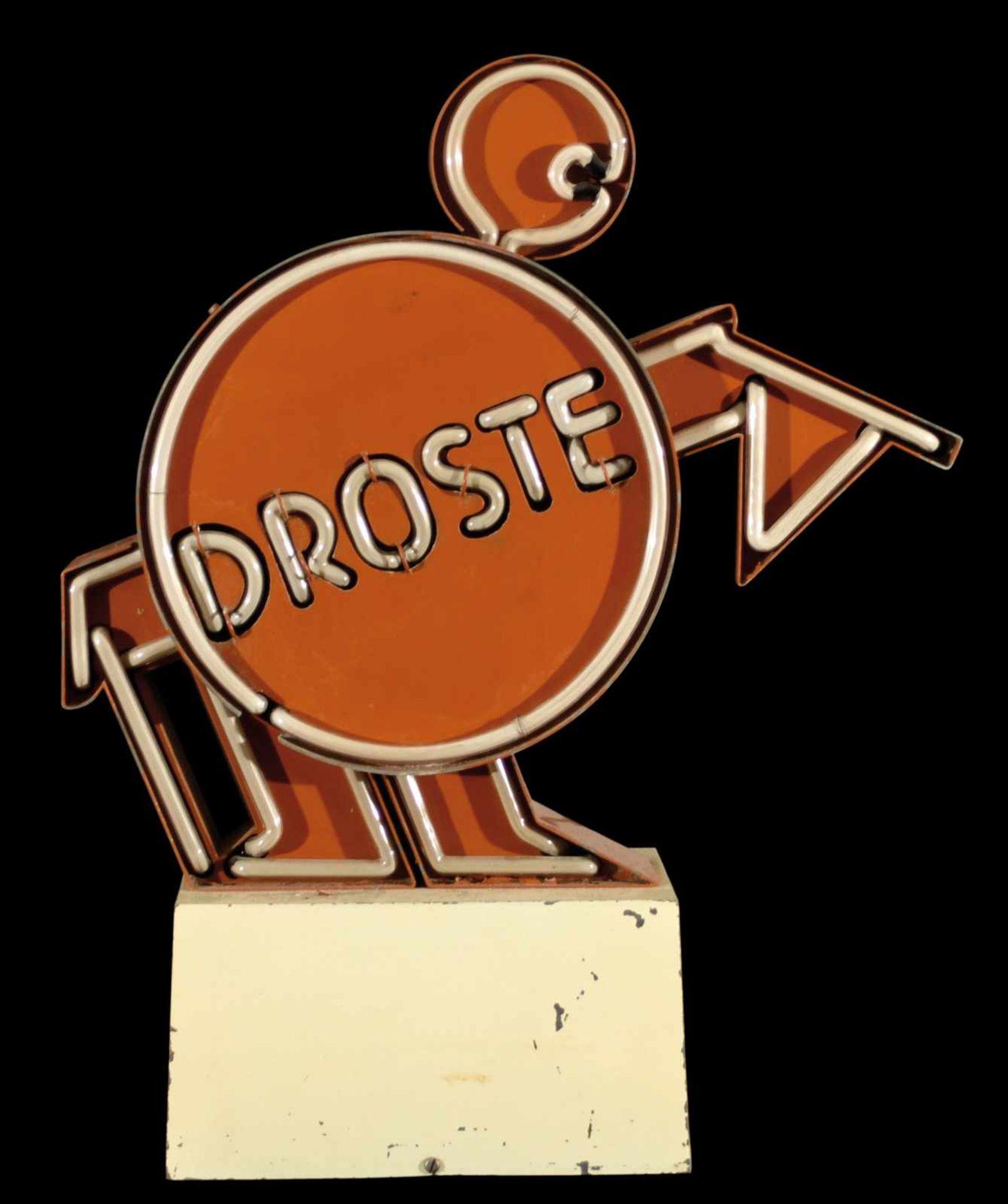 DROSTE (1-2) Neonreklame, Blechkorpus, Niederlande 50er Jahre, H 47 cm, Sockel mit leichten