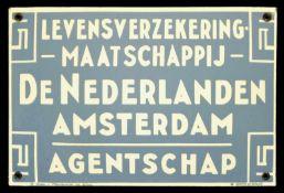 DE NEDERLANDEN (1+) Emailschild, gewölbt, schabloniert, Amsterdam/Niederlande um 1920, 30 x 20 cm,