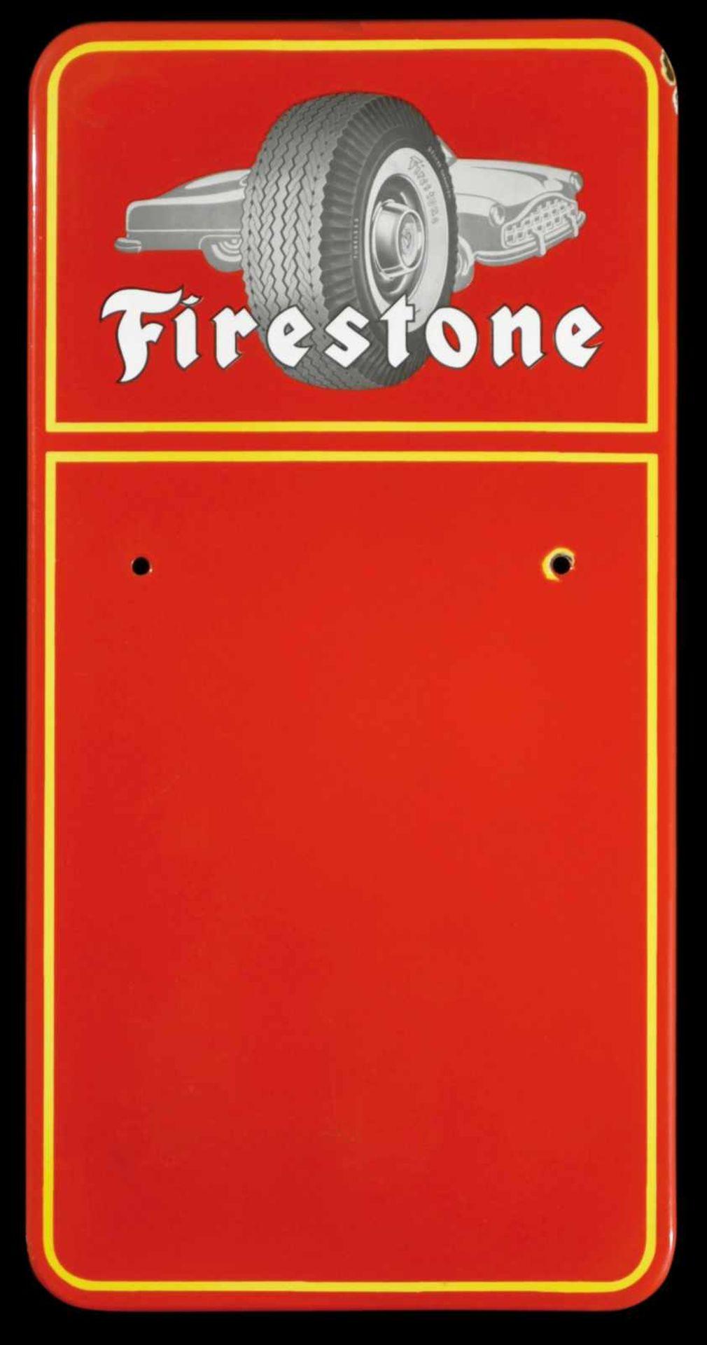 FIRESTONE (1-) Emailschild, abgekantet, schabloniert und lithographiert, 50er Jahre, 23 x 46 cm, die