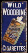 WILD WOODBINE CIGARETTES (4-) Emailschild, flach, schabloniert und lithographiert, Bristol &