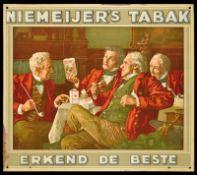 NIEMEIJER's TABAK (1-) Blechschild, umgebördelter Rand, fein lithographiert, Niederlande um 1930, 37