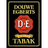 DOUWE EGBERTS TABAK (1-) Emailschild, abgekantet, schabloniert, Niederlande um 1950, 47 x 67 cm,