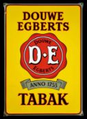 DOUWE EGBERTS TABAK (1) Emailschild, abgekantet, dick schabloniert, Niederlande um 1940, 47 x 67 cm,
