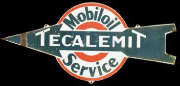 MOBILOIL TECALEMIT SERVICE (3) Emailschild, flach, schabloniert, 30er Jahre, 90 x 41 cm Emaillen