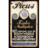 PICUS TRIPLE MULTIPLEX (3-) Emailschild, flach, schabloniert, Eindhoven/Niederlande um 1920, 60 x