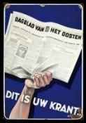 DAGBLAD VAN HET OOSTEN (2-) Emailschild, abgekantet, schabloniert, Enschede/Niederlande um 1935,