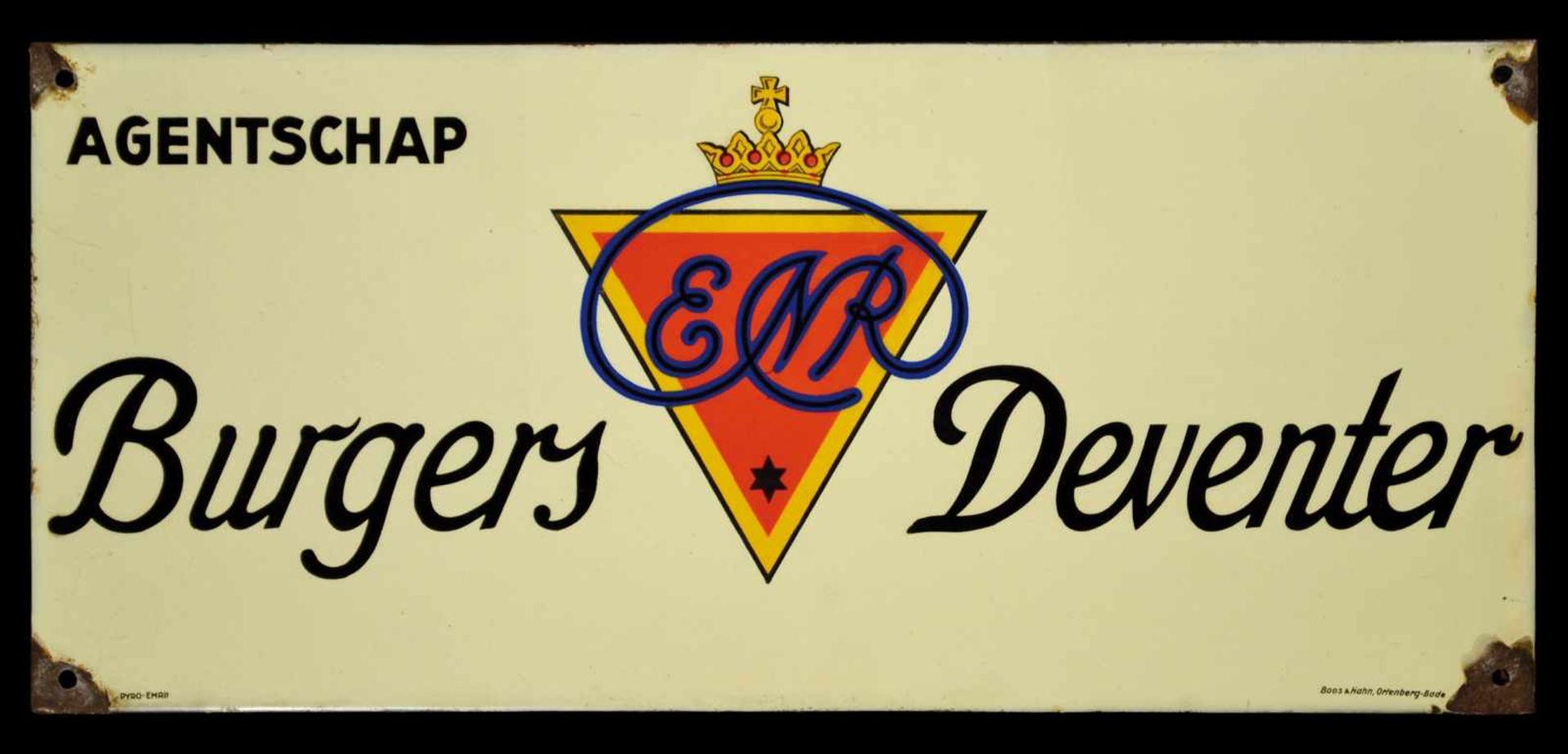 ENR BURGERS DEVENTER (2-) Emailschild, abgekantet, schabloniert, Niederlande um 1930, 63 x 28 cm,
