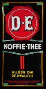 DOUWE EGBERTS KOFFIE-THEE (2) Emailschild, stark gewölbt, fett, zuckergußartig schabloniert,