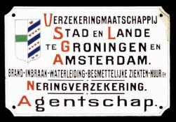 VERZEKERINGSMAATSCHAPPIJ STAD EN LANDE (2) Emailschild, gewölbt, dick schabloniert, Groningen u.