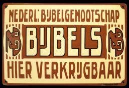 NEDERL. BIJBELGENOOTSCHAP (1+) Emailschild, gewölbt, dick schabloniert, Niederlande um 1920, 37 x 24