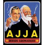 AJJA - ROSIN AROMATIQUE (1+) Emailschild, abgekantet, schabloniert und lithographiert, Belgien 1953,