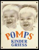 POMPS KINDERGRIES (1+) Emailschild, abgekantet, schabloniert und lithographiert, Deutschland 30er