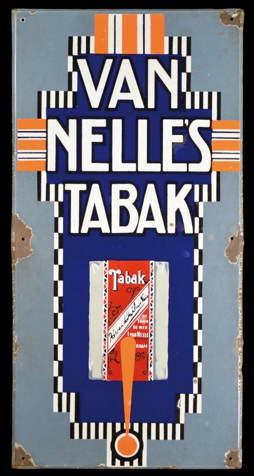 VAN NELLE's TABAK (2) Emailschild, schräg abgekantet, dick schabloniert, Niederlande um 1920, 50 x