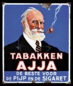 TABAKKEN AJJA (3+) Emailschild, abgekantet, schabloniert und lithographiert, Belgien 1935, 56 x 66cm