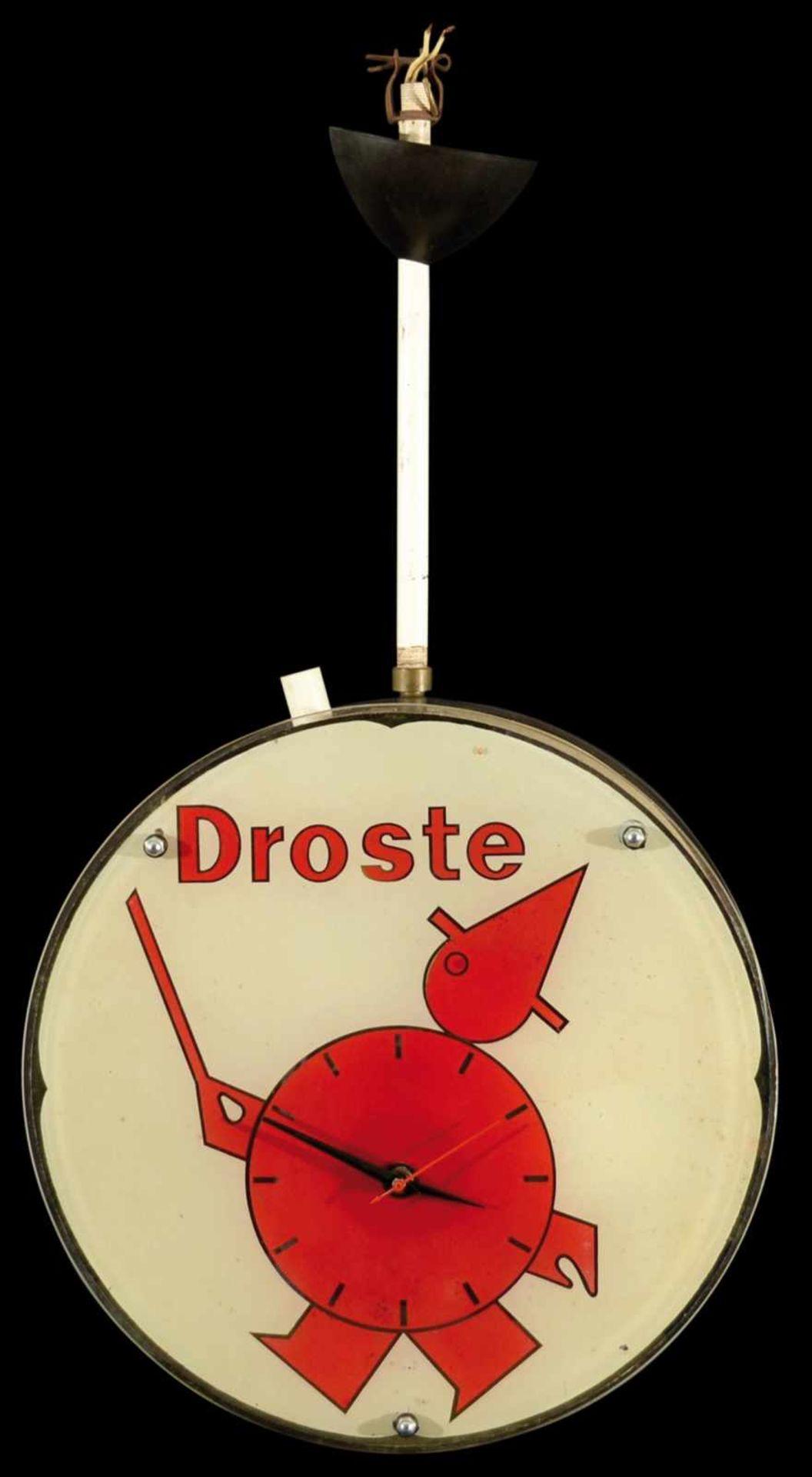 DROSTE (1) gläserne Werbeleuchte, beidseitige integrierte Werbeuhr, Niederlande um 1950, D 38 cm,