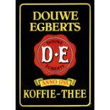 DOUWE EGBERTS KOFFIE-THEE Emailschild, abgekantet, schabloniert und lithographiert, Niederlande 40er