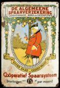 SPAARVERZEKERING (4) Emailschild, gewölbt, schabloniert, Niederlande um 1910, 33 x 50 cm,