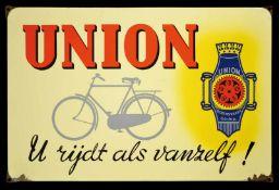 UNION (2+) Emailschild, abgekantet, schabloniert und lithographiert, Niederlande 50er Jahre, 73 x 48