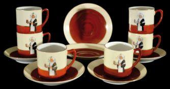 DROSTE CACAO 1 6-teiliges Kaffeeservice, Porzellan, Niederlande um 1920, goldlinierte Schriftzüge