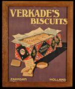 VERKADE's BISCUIT (2) Papplithographie im Holzrahmen hinter Glas, Zaandam/Niederlande um 1930, 49